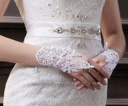 Перчатки свадебные белые айвори слоновая кость ivory без пальцев