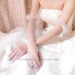 Кружевные свадебные перчатки по локоть с пальцами айвори слоновая кость