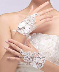 свадебные кружевные перчатки белый айвори слоновая кость ivory недорого
