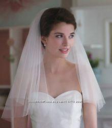 Фата свадебная с гребешком обрезная белая двухслойная