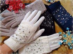 Стильные перчатки - митенки коричневые