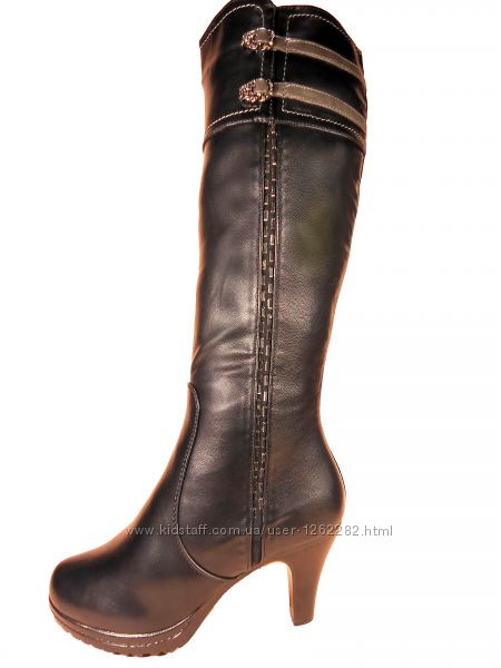 Женские, зимние, высокие сапоги на каблуке. Размер 36-41.