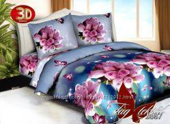 1, 5-спальные комплекты постельного белья ткань полисатин с 3d эффектом