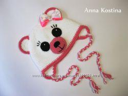 Вязаная плюшевая мягенькая шапочка Мишка для девочки, 41-45