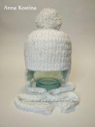 Вязаная плюшевая зимняя шапочка на новорожденного с помпоном, ручная работа