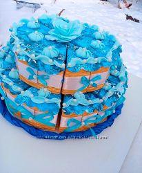 Торт с пожеланиями из бумаги