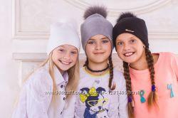 Теплая шапка из ангоры на девочку 5-12 лет