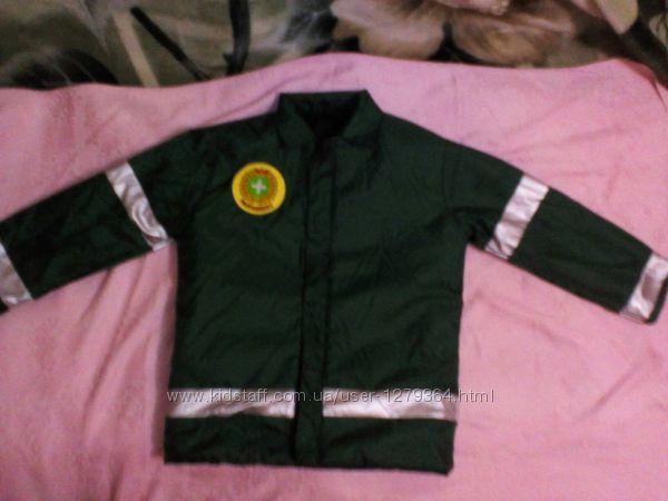 карнавальный новогодний костюм двухсторонняя куртка пожарника врача 4-6лет