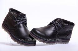 Ботинки зимние Clarks Black 080  из натуральной кожи на меху