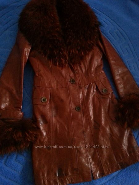 Кожаное утепленное пальто, Турция, S-M