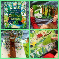 Книга с клапанами Peep inside - Animal Homes От Usborne