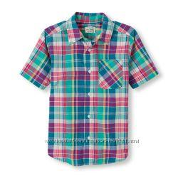 Childrens Place Рубашка с коротким рукавом в клетку для мальчика 5 6лет