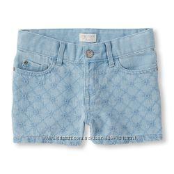 Childrens Place Джинсовые шорты с вышивкой для девочки 4года