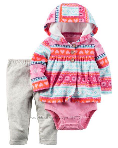 Carters Комплект 3-ка Флисовая кофта штанишки боди для девочки 18мес
