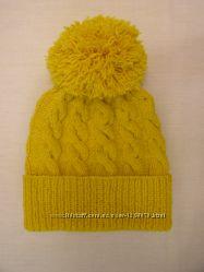 Зимняя вязаная шерстяная тёплая шапочка с помпоном