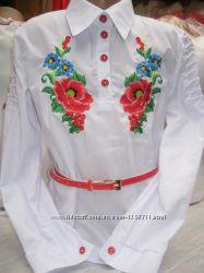 Детская блуза с вышивкой Мальва с красным поясом Размеры 128-158