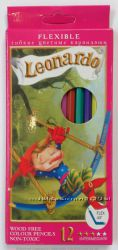 Карандаши цветные 12 цветов Leonardo гибкие