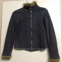 Куртка с мех оборкой хлопок змейка NEXT