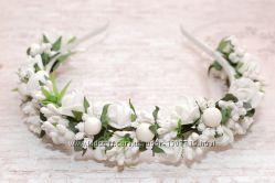 Обручи ободки веночки в белом цвете