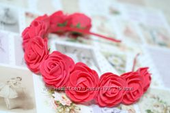 Обруч ободок венок с большими красными розами