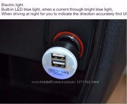 Мини автомобильное зарядное устройство адаптер USB 2-портовый