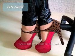 Красные туфли на каблуке с леопардовым принтом. Опт-Розница-Дропшиппинг