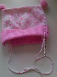 Зимние детские шапочки на девочку 2 шт.