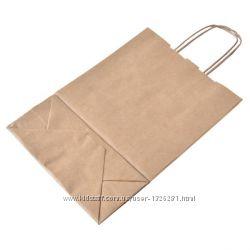 Дешево Крафт пакеты бурые с крученой ручкой, плотные. 335мм260мм