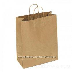 Бумажные пакеты с витыми ручками 38см32см, недорого