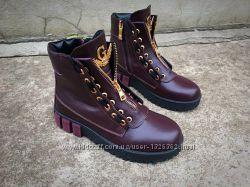 Шикарные кожаные ботинки на змейке