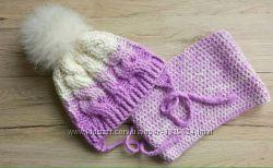 Стильная зимняя шапка и снуд