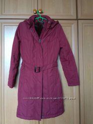 Весенне пальто длинная куртка с капюшоном и опушкой, р. S Цена снижена