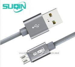 Кабель быстрой зарядки SUQIN 5V  2A Micro USB плетенный