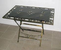 Стол кованый складной с металлической столешницей