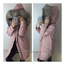 Стильная модная женская куртка парка с натуральним мехом синтепон недорого