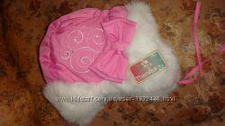 шапка зимова рожева  на 3-7років
