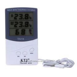 Гигрометр термометр цифровой с выносным датчиком. TA318. Метеостанция.