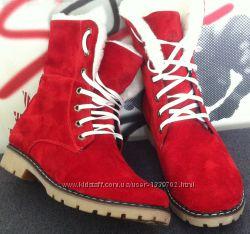 Ботинки Женские зимние Timberland T69 красная замша натуральный мех Украина
