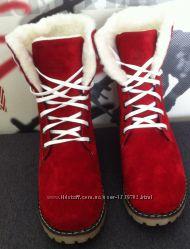 Ботинок Женский зимний Timberland T69 красный замш натуральный мех харьков