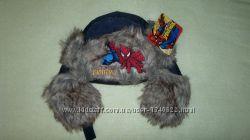 Новая зимняя теплая шапка-ушанка с принтом Человек-паук р. 52