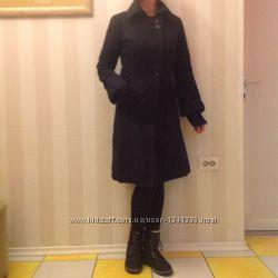 Черное утепленное пальто. Размер S.