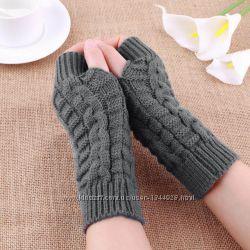 Перчатки без пальцев вязаные