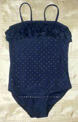 Купальник круизный синий в золотые сердечки р. 122-128 7-8 лет