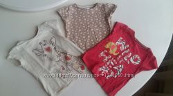 Комплект футболок футболка F&F 3-4 года, 104 см, жираф, сердечка, красная,