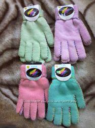 Зимние, теплые, двойные, женские перчатки.