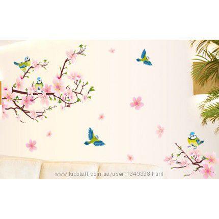 Интерьерная наклейка на стену Цветущий Персик