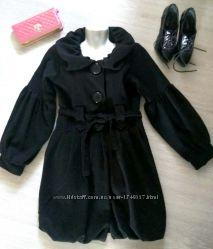 Пальто стильное черное весеннее, S-M, пальто в стиле бебидол