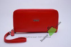 кожаный кошелек женский красный