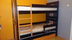 Двухярусная трехспальная кровать Елена трансформер дерево