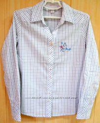 Рубашка для девочки белая в клетку